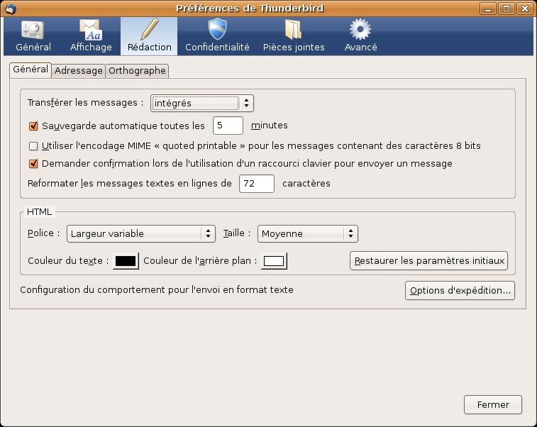 html ou texte  quel format utiliser avec thunderbird pour