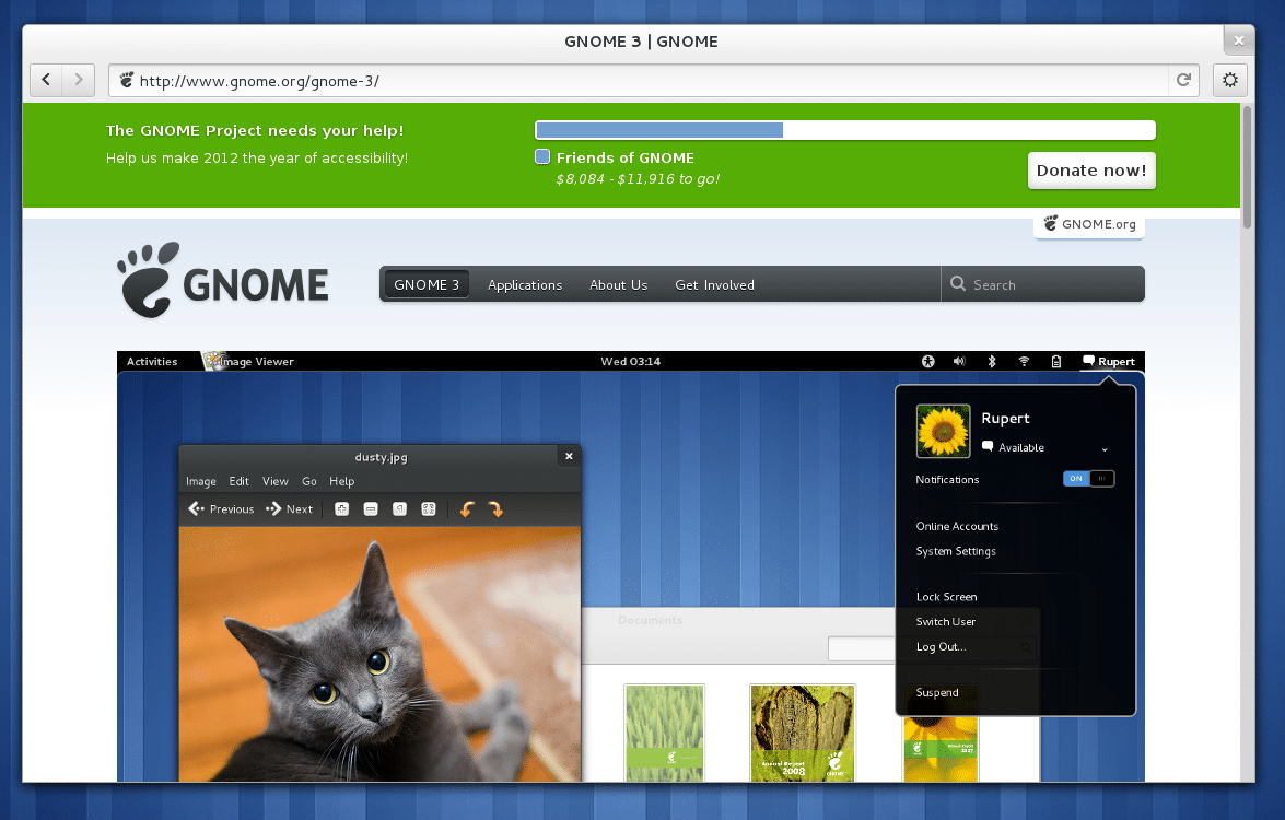 interface Gnome 3 bureau