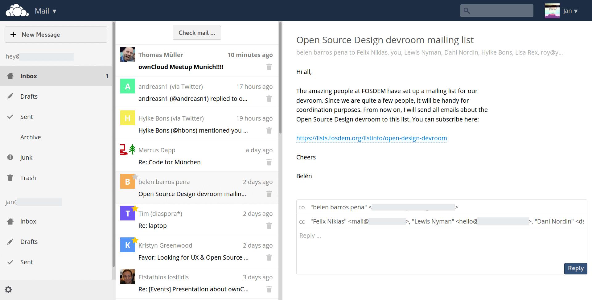 Consulter ses emails avec Owncloud, premier test de l'application Mail